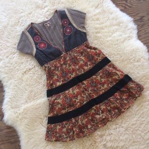 {Free People} Flower Embroidered Dress